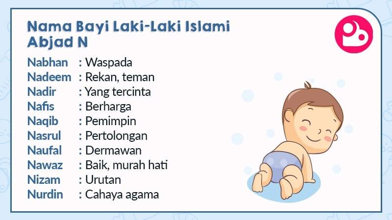 nama bayi laki-laki islami - huruf n
